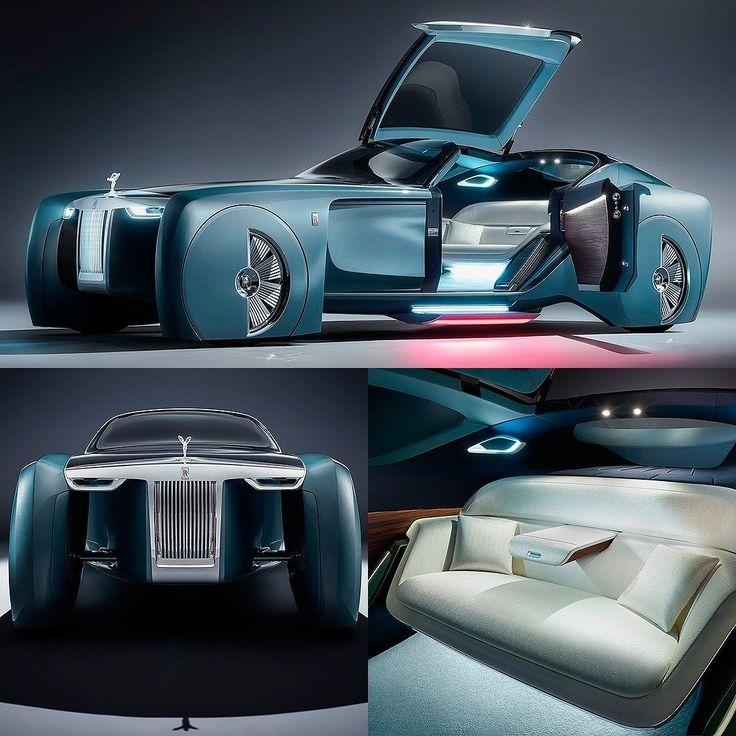 Rolls-Royce 103EX Vision Next 100 Concept 2016 Este é um dos conceitos mais futuristas que a marca inglesa já fez. Trata-se de uma interpretação de como será a mobilidade de luxo no futuro - completamente pessoal e autônoma: nada de motorista: apenas passageiros com uma experiência de conforto e exclusividade conceito que os designers definem de 'Grand Sanctuary'. O modelo elétrico e totalmente autônomo dispensa o volante: todos os comandos são feitos por voz e em telas de alta resolução em…