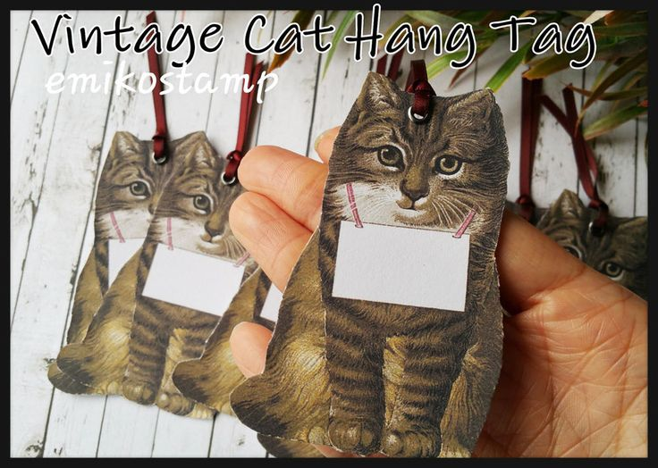 6 Vintage Cat Hang Tag Scrapbook Card Making,Thank you tag,Party Favours