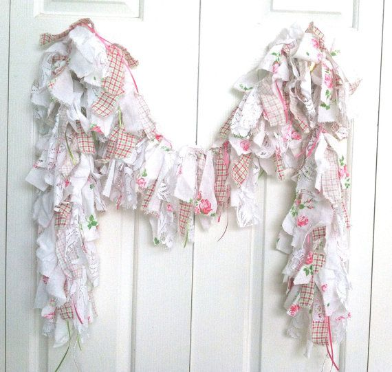 5 foot Rag Garland    All handmade and SUPER FULL!    This garland includes strips of white muslin, white cotton w/bright pink rose & stem design,