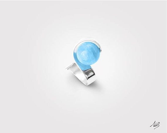Silver ring with Acquamarine sphere, 925 Silver, Handmade, Modern Design, sophisticated style, natural stones, adjustable size, TWIST