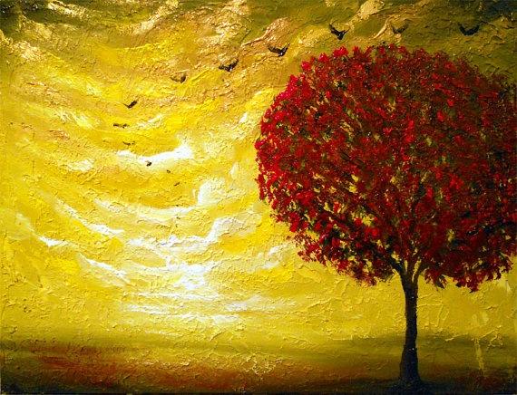textured red tree painting 22 x 28 bird metallic gold cloud impressionist original abstract landscape impasto wall decor