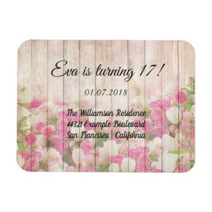 Vintage Wood Flowers Birthday Party Invitation Magnet