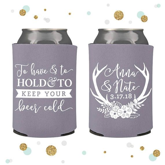 Can coolers have become extremely popular to use as wedding favors and party favors for big celebrations. These personalized can coolers are manufactured with durable materials that facilitate grip, and protect your hands while keeping your drinks cold. Each order comes with a