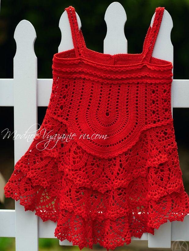 Красная туника для девочек - Crochet Modnoe Vyazanie