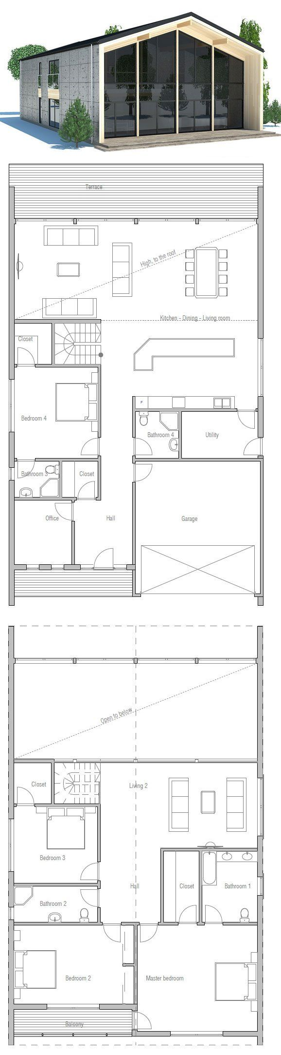 Large house to narrow lot. Modern Architecture. Floor Plan from ConceptHome.com