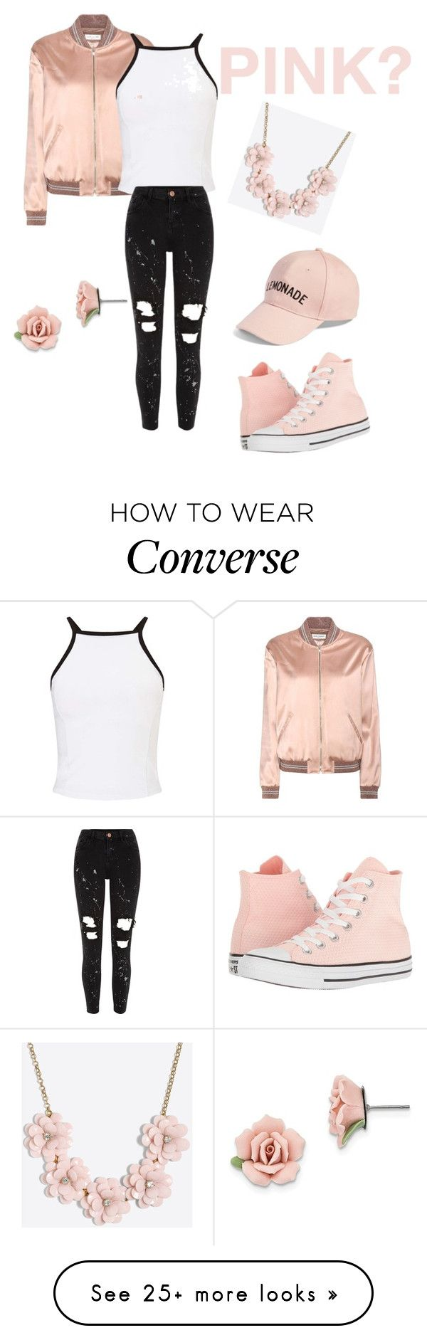 """Pink????"" by lowkeyarii on Polyvore featuring Converse, Yves Saint Laurent, Miss Selfridge, River Island, Amici Accessories, J.Crew and 1928"