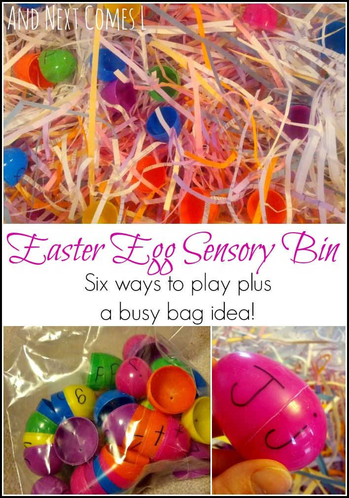 Easter egg sensory bins, 6 ways to play and learn with the same sensory bin materials from And Next Comes L