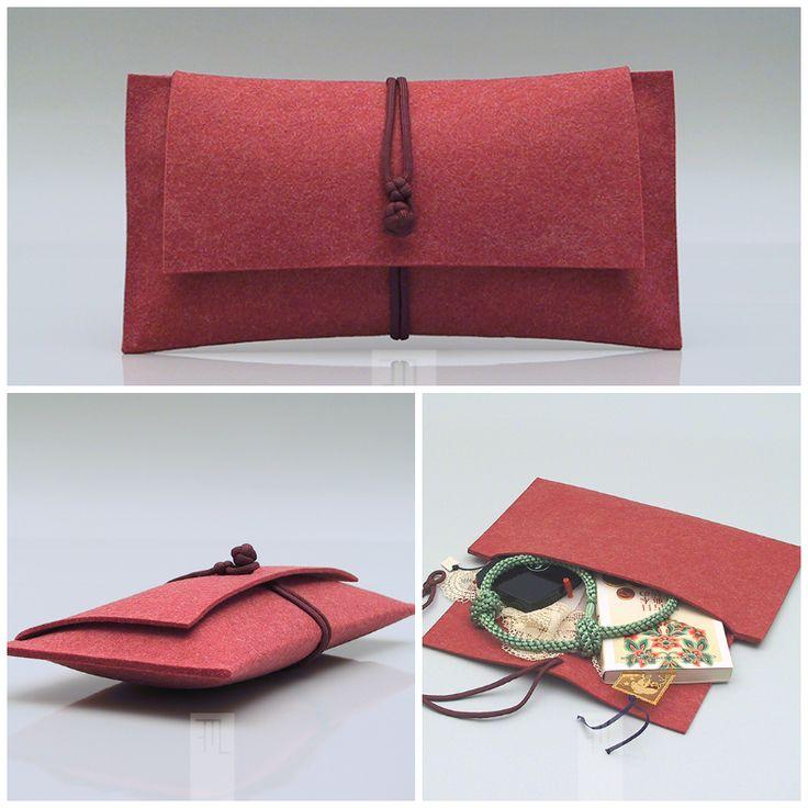Clutch in feltro rosso // Red felt #clutch by @FMLdesign via it.dawanda.com