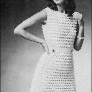 """No.202 PDF-Vintage gehaakt patroon vrouwen Puff Stitch jurk - patroon Retro haak - Instant Download - Bust maten 34"""", 36.5"""", 39"""""""