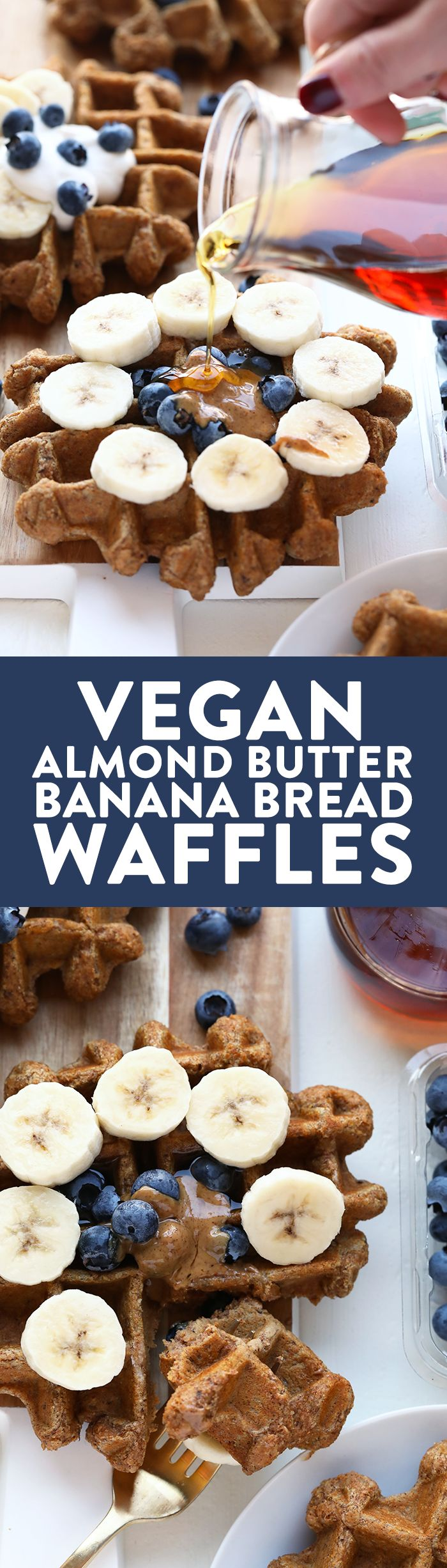 Vegan Almond Butter Banana Bread Waffles (Whole Wheat!) - Fit Foodie Finds