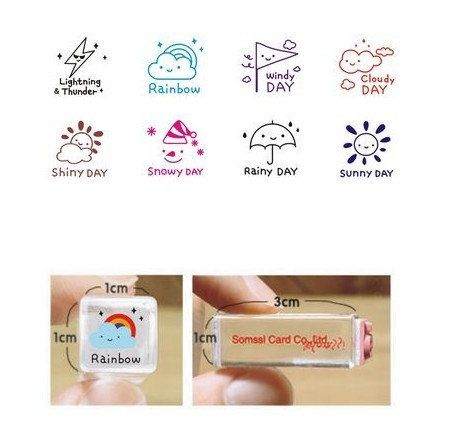 New Arrival! Korean Japanese Cute Crystal Weather Rubber Stamp for DIY Scrapbook, paper work, Diary