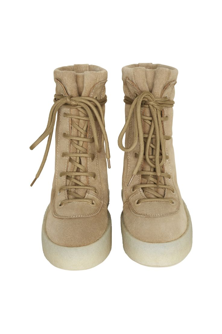 Yeezy embraces the unisex future of fashion with the Season 2 upgrade of his debut duck boot. The supple calf suede upper features tonal eyelets and laces, giving the chunky silhouette a surprisingly