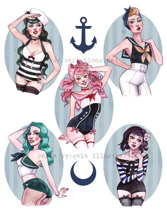 Marinero Pin Up chicas náutico marinero Luna por carlationsart