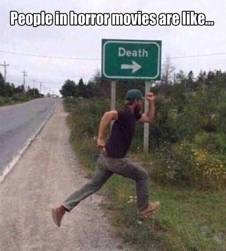 Nobody ever thinks in horror movies, so this is just like one.