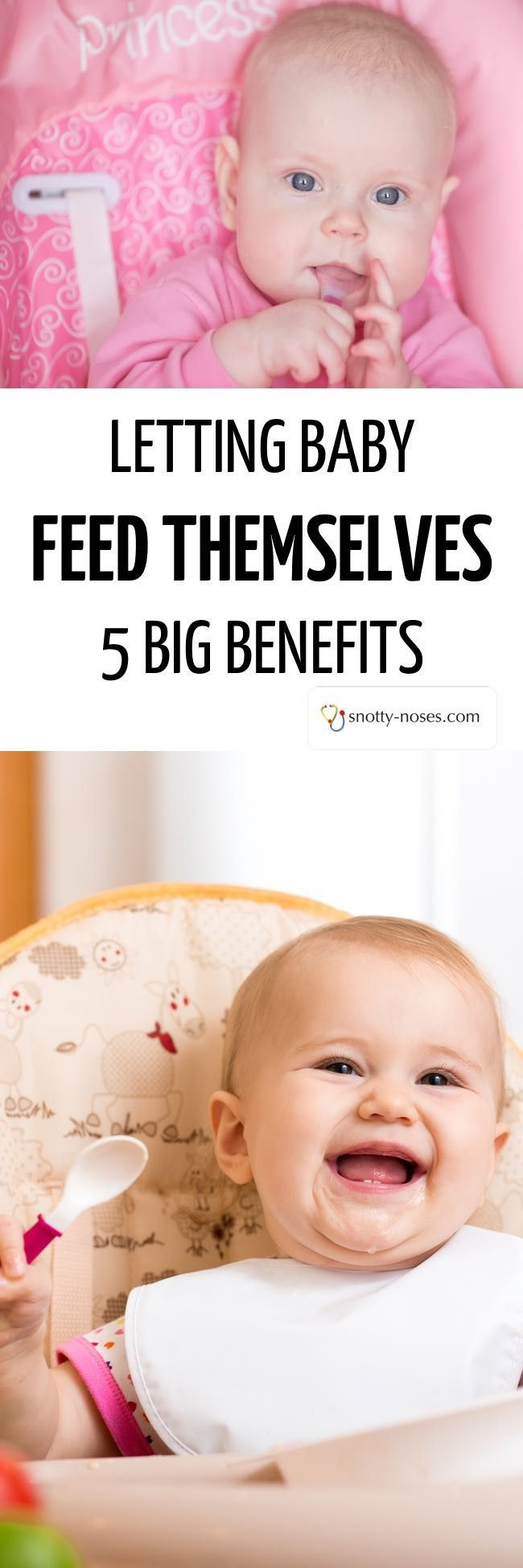 Letting Baby Feed Themselves. 5 Big Benefits of allowing your baby to take control of feeding themselves.