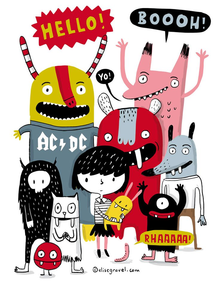 Elise Gravel • Little girl and monsters • Illustration • character design • cute • funny • kids • drawing