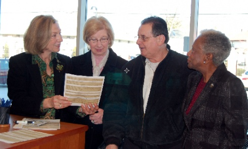 """Elizabeth, N.J. – Union County Freeholder Vernell Wright (R) listens as Union County Clerk Joanne Rajoppi (L) speaks with Sue and Raymond Vincent of Clark about passport applications during national """"Passport Day in the USA"""" on March 10 at the County Clerk's Westfield Office. United States residents can apply for passports at the County Clerk's main office at 2 Broad Street in Elizabeth or at the County Clerk's office annex at 300 North Avenue East in Westfield. Applications for passports…"""