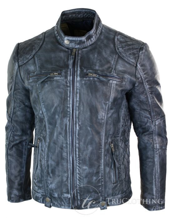 8109a2e7f Aviatrix JL-253 Mens Blue Washed Jacket Zip Biker Vintage Distressed ...
