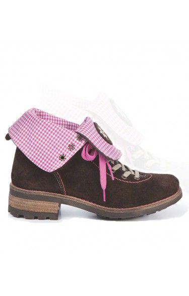 Trachten Stiefel Leinen/Leder - 3035 -pink