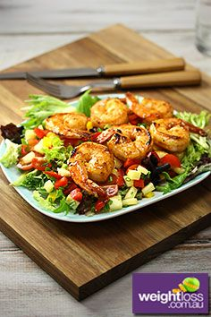 Prawns with Pineapple & Capsicum Salsa. #HealthyRecipes #DietRecipes #WeightLossRecipes weightloss.com.au