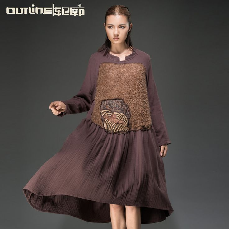 Outline Brand Trend Women Wool Patchwork Dresses Plus size loose Full dress Autumn Winter 100 cotton Embroidery Pleated Dress