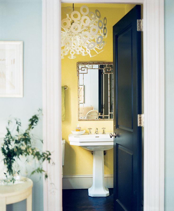 "our favorite bathroom paint color ideas on domino.com  ""Lemon grove"" by Benjamin Moore"