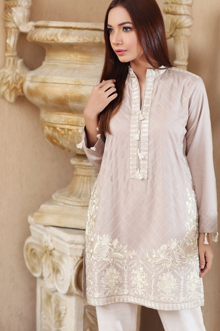 Pakistani Designer Dresses - Lowest Prices - Beige Embroidered Dress by Origins - Dresses - Latest Pakistani Fashion