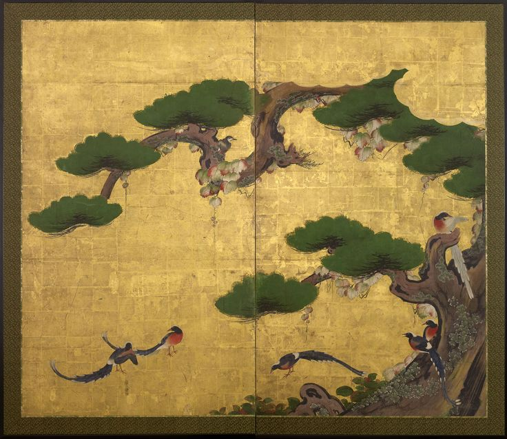 42 best byobu images on pinterest japanese art folding screens a two fold paper screen painted in ink and colour on a gold ground with sankch birds of paradise and a gnarled matsu pine tree overgrown with tsuta sciox Gallery