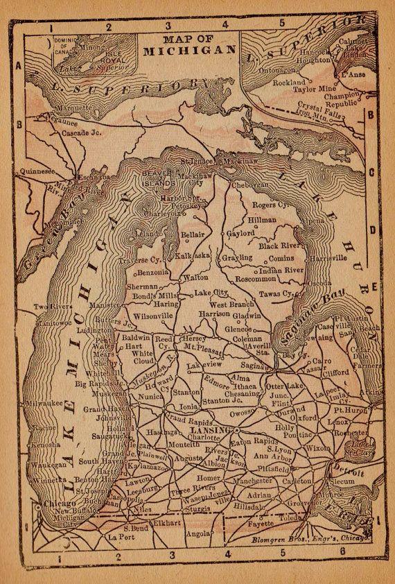Rare Size MICHIGAN Map of Michigan State Map by plaindealing