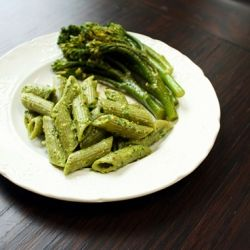 Pistachio pesto over spinach penne with broccolini. Green food at its ...