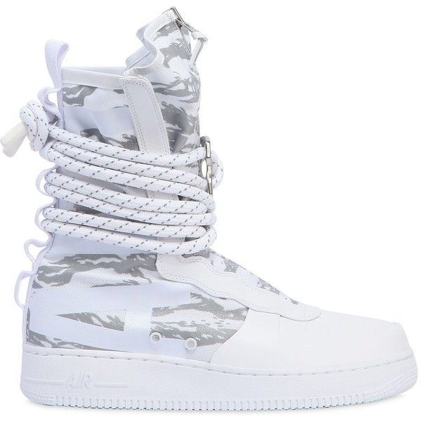 Nike Men Sf Air Force 1 Sneaker Boots ($270) ❤ liked on Polyvore featuring men's fashion, men's shoes, men's boots, white, mens military style boots, mens leather military boots, mens shoes, mens leather boots and mens leather shoes