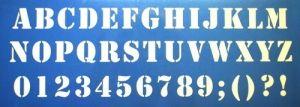 Verfsjabloon cijfers en letters