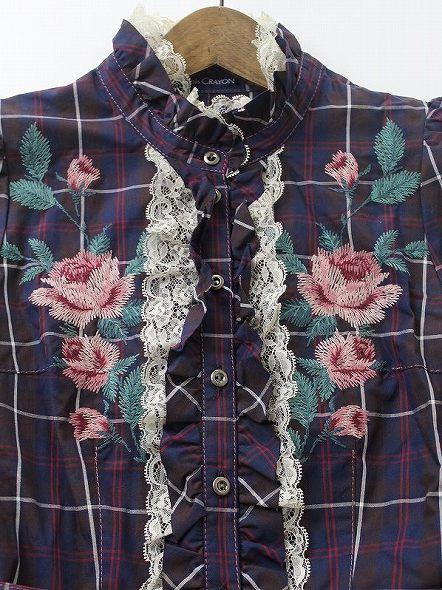 Lois CRAYON ロイスクレヨン バラ刺繍 チェック ワンピース M_画像4