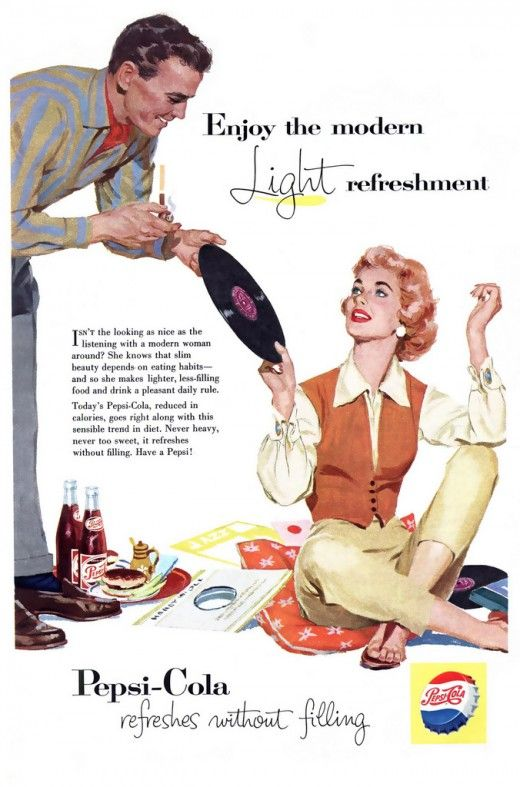 """Pepsi Ad from the 1950's, """"Enjoy the modern light refreshment""""."""
