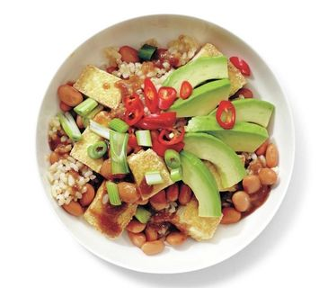 Tofu and Avocado Rice Bowl...I would try it with quinoa/red rice mix.