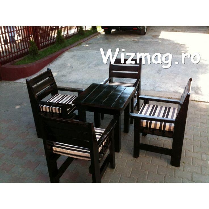 Masa si fotolii din lemn Wenghe