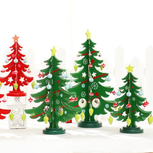 君君饰家 新款三片洒粉木质圣诞树桌面摆件 木制圣诞装饰品礼物