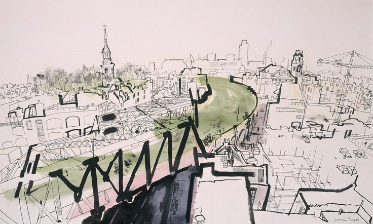 lucinda rogers drawing ink watercolour london overground st leonards shoreditch east london line cityscape rooftops