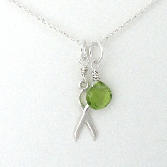 Lime green cancer awareness necklace, lymphoma awareness,  non-Hodgkins lymphoma, lime green peridot, cancer necklace, sterling silver