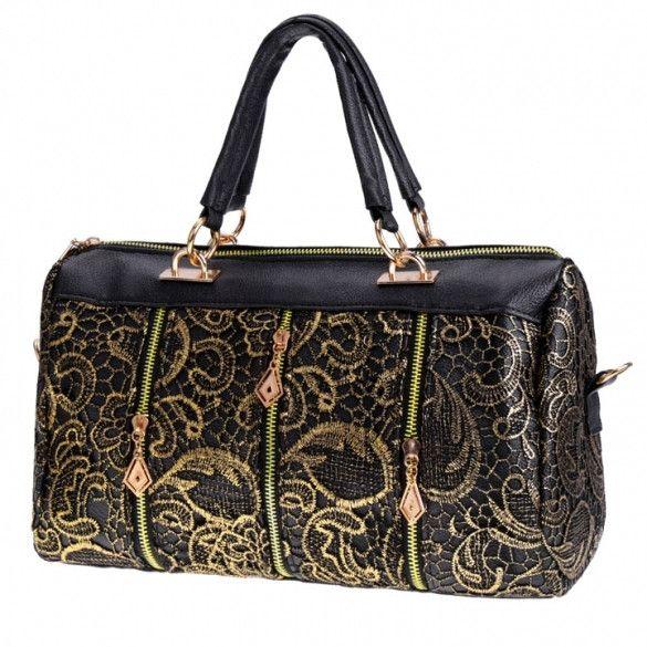 New Fashion Elegant Women's Lace Style Synthetic Leather Handbag Shoulder Bag Cross Bag