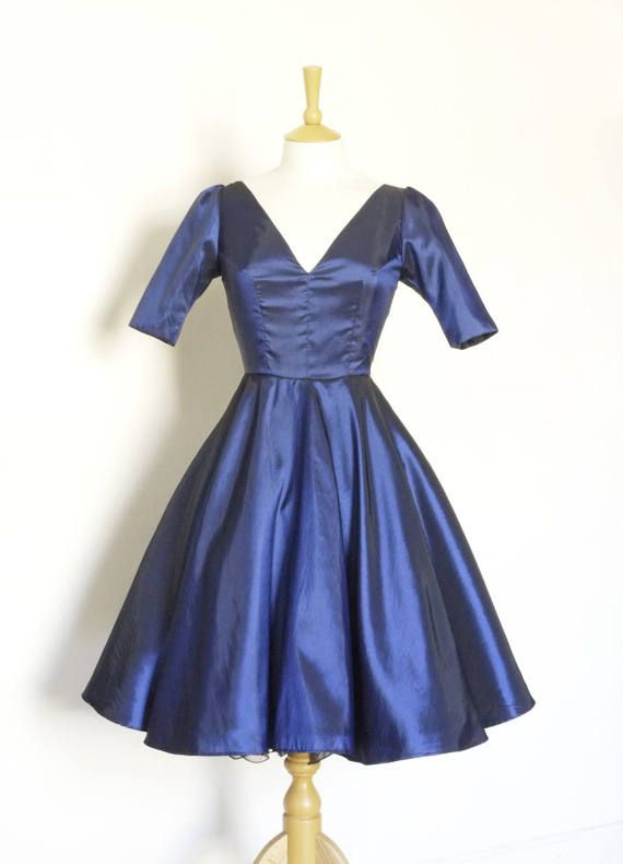 Midnight Blue Taffeta Darted Bodice Swing Dress - Made by Dig For Victory