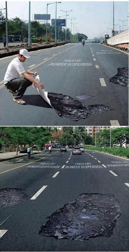 道路で段差をつけてスピードを落とされるものがあるけど、視覚的に段差をみせてスピードを抑止するというのもありだね