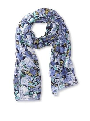 56% OFF Carolina Amato Women's Ribbon-Trim Floral Scarf, Blue