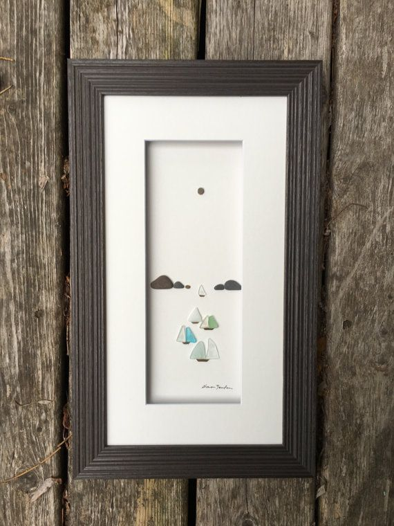 Sea glass art by sharon nowlan 8 by 15 sea glass sail boats framed pebble art