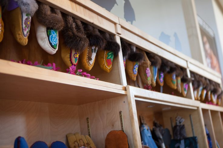 The most beautiful beaded moccasins found at the Dänojà Zho Cultural Centre #DawsonCity Photo: Christa Galloway PR Services #Moccasins #Beaded