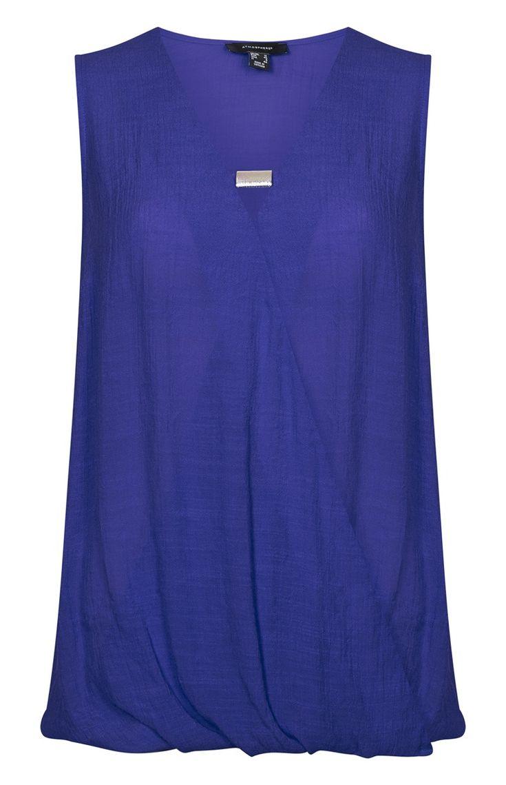 Primark - Blusa sem mangas com adorno azul