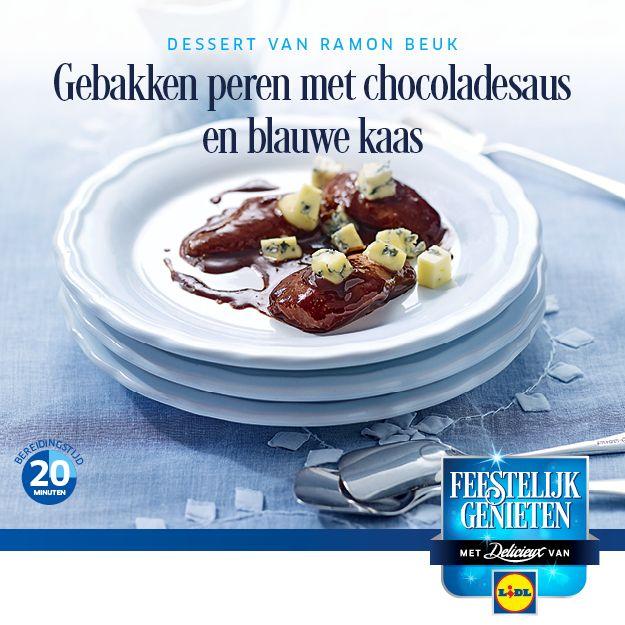 #Recept voor gebakken peren met chocoladesaus en blauwe kaas #Lidl #Kerst #Gebakkenperen #Dessert
