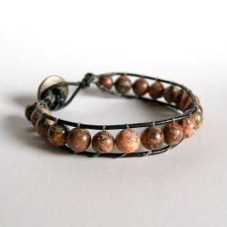 Stone and Leather Bracelet TutorialBracelet Tutorial, Tasty Recipe, Crafts Ideas, Beads Bracelets, Leather Bracelets Tutorials, Diybracelets, Diy Bracelets, Stones, Leather Wraps Bracelets
