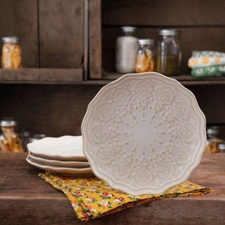 The Pioneer Woman Farmhouse Lace Dinner Plate Set, 4-Pack - Walmart.com