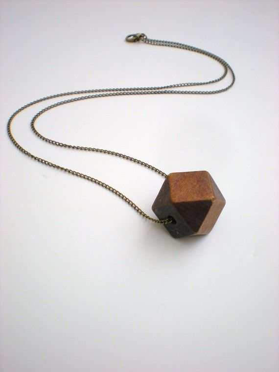 geometric wood bead necklace